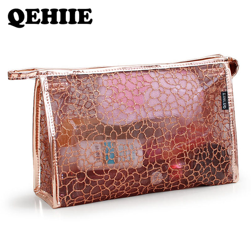 Cosmetic-Bag Wash-Bags Travel-Organizer Transparent Waterproof PVC Lace High-Capacity