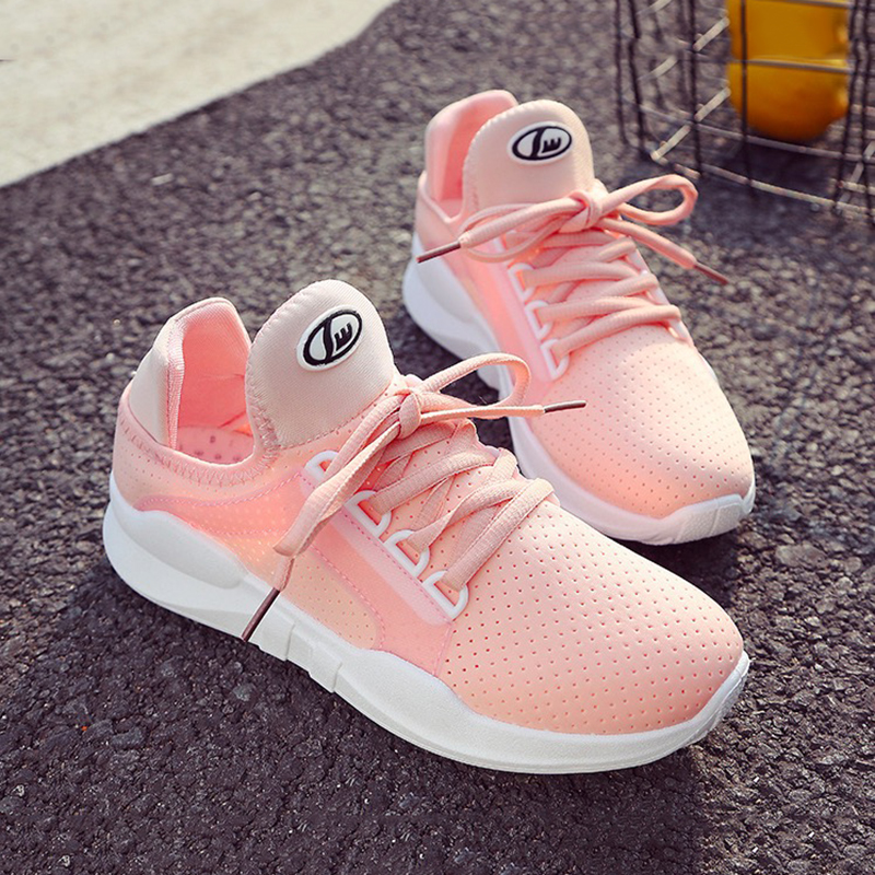 WAWFROK Women Casual Shoes Autumn 2018 Spring Women Flats Shoes Fashion Breathable Hollow Lace-Up Women Sneakers
