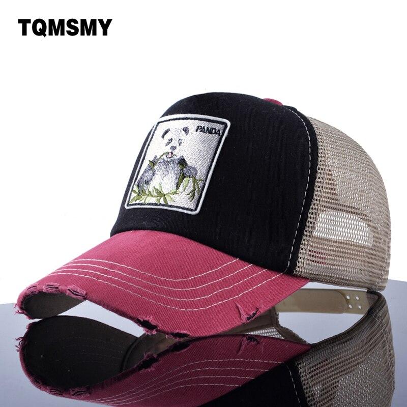 TQMSMY Unisex sun hats for men Hip Hop Hat Breathable Mesh Baseball Caps Women Embroidery panda Snapback caps Summer Gorras