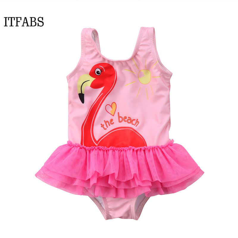 ITFABS 1-6Y Kids Baby Girl one piece bikini 2018 <font><b>bodysuit</b></font> swim Tutu Swan Swimwear Ruffle <font><b>Skirt</b></font> pink Swimsuit Bathing Suit image