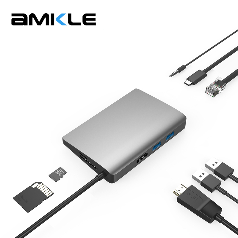 Amkle 9-in-1 USB C USB-C Hub With Type C Power Delivery 4K Video HDMI SD/TF Card Reader Switcher for MacBook Pro HUB Splitters new portable mini design charming 3 in 1 card reader usb type c micro usb 3 0 tf sd card reader support type c otg card reader
