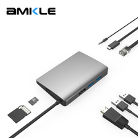 Amkle 9 in 1 USB C USB C Hub With Type C Power Delivery 4K Video HDMI SD/TF Card Reader Switcher for MacBook Pro HUB Splitters