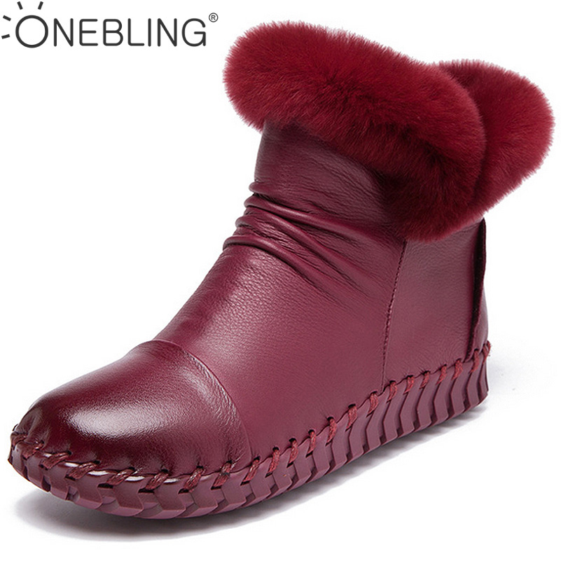Winter Warm Short Plush Genuine Leather Pleated Sewing Shoes 2017 Fashion Casual Ankle Boots Women Flat Shoes Zipper Snow Boots