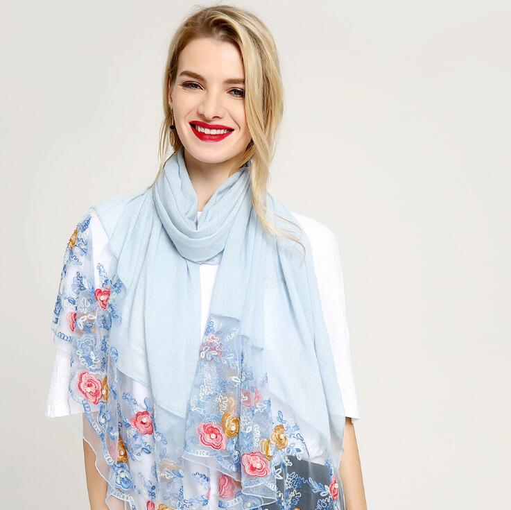 Embroidery Scarf Lace Scarves Cotton Head Scarf Lace Muslim Hijab Shawls And Scarves Wrap Shawls Women Cape 10pcs/lot
