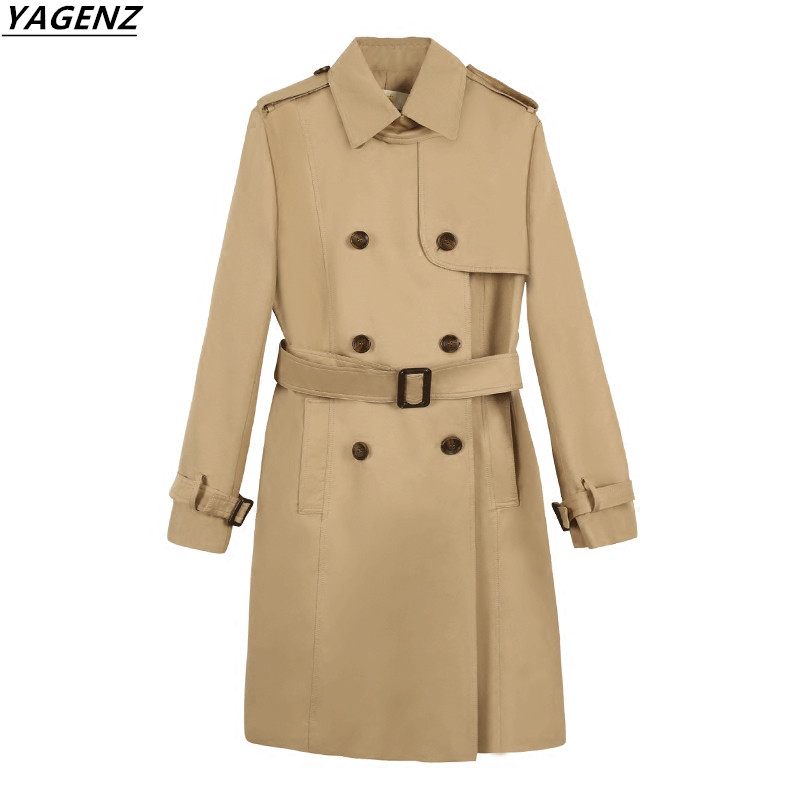 2017 New Autumn Womens Coat Medium Length Trench Coat Cozy Womens Clothing Sweet Casual Tops YAGENZ Fashion Female Windbreaker
