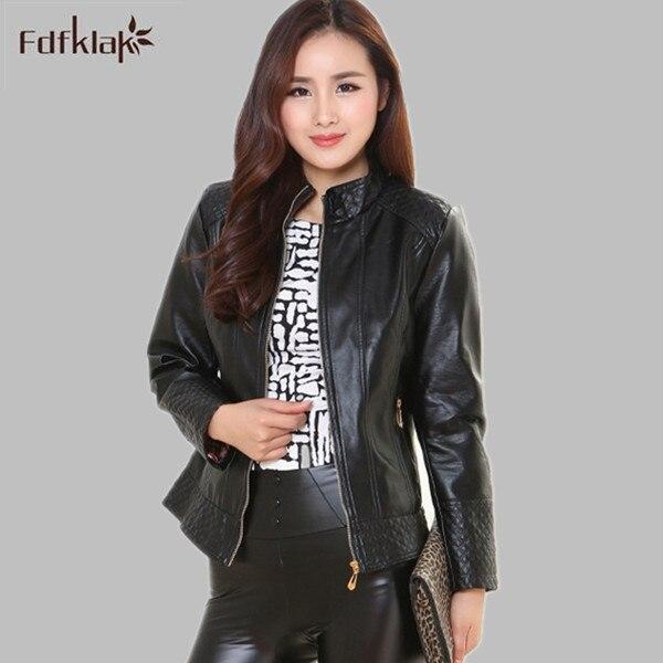 Leather   Jacket Women   Leather   Jacket Zipper Casual Clothing Autumn Pu Motorcycle   Leather   Female Jacket Plus Size M-5XL E0599