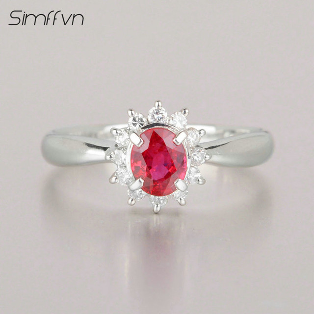 Amato Stile classico 0.48Ct Rubino Pietra Preziosa Anello Con Diamante  TM99