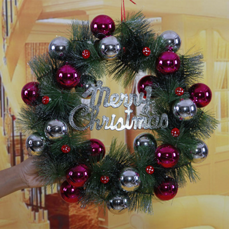 2017 christmas ball pine needles wreath pendant drop ornaments christmas crafts christmas decorations for home xmas gifts santa in artificial dried - Christmas 2017 Decorations