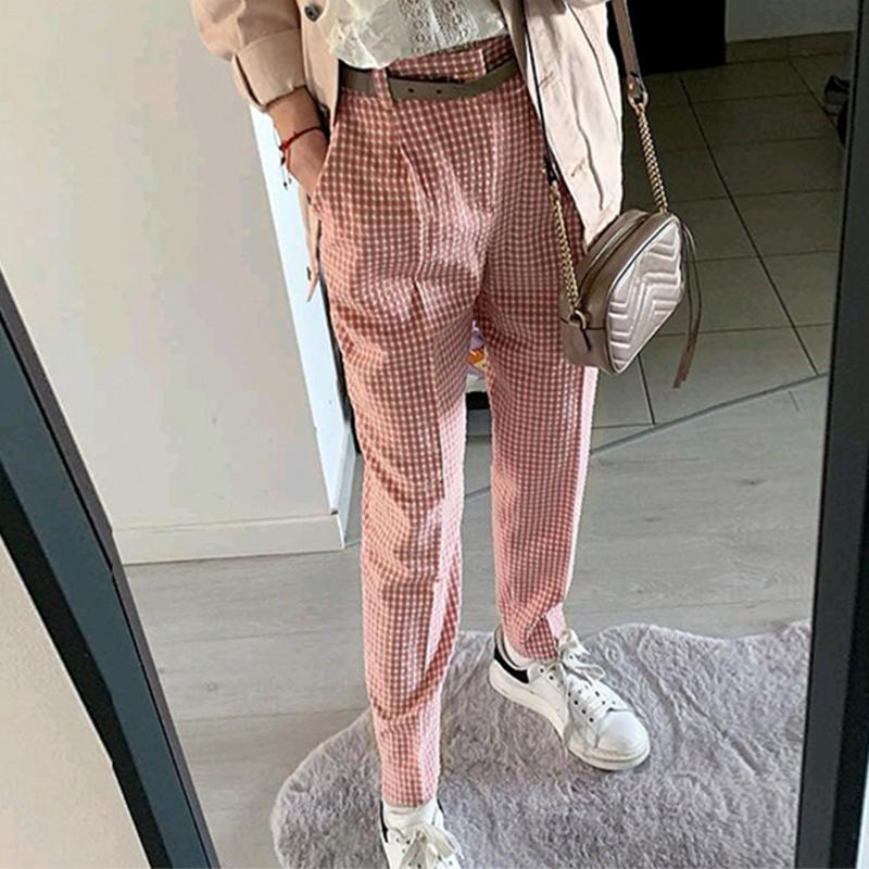 charm Pink plaid casual   pants   women 2019 Summer vintage work   pants     capris   female Straight office ladies British style trousers