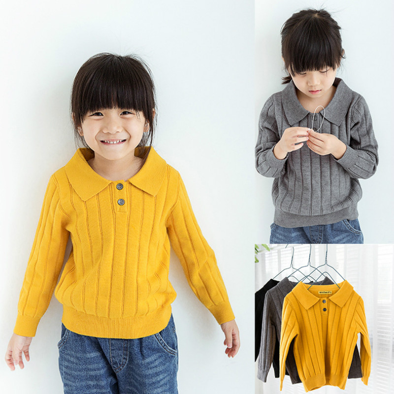 Rainbow Angle  Kids Clothing Baby O-neck Sweater Children New Cotton Turn-down Collar Sweater Spring/Autumn Knitted Sweater