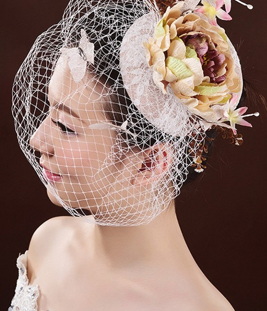 Fashion Wedding Hat Veil Flowers Bridal Hair Accessories Tulle Birdcage Face Veils