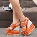 16 см на высоких каблуках сандалии женщин клинья летняя обувь 2017 новый посыпать каблук ремешок сандалии