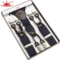 Fashion leather alloy 6 clips male vintage casual suspenders commercial western-style trousers man's braces strap