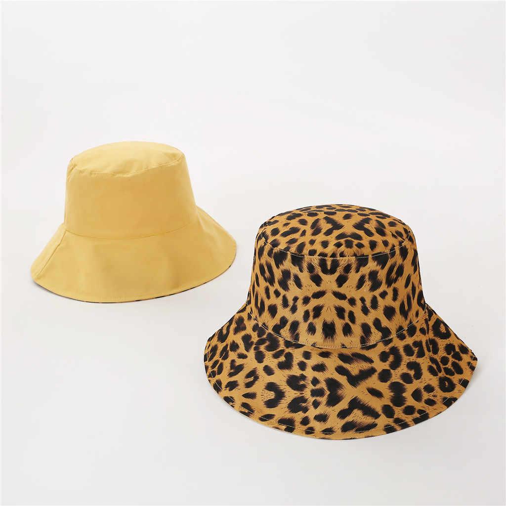 2019 Baru Dua Sisi Leopard Mencetak Ember Topi Topi Outdoor Perjalanan Topi Sun Topi untuk Pria dan wanita Topi Topi