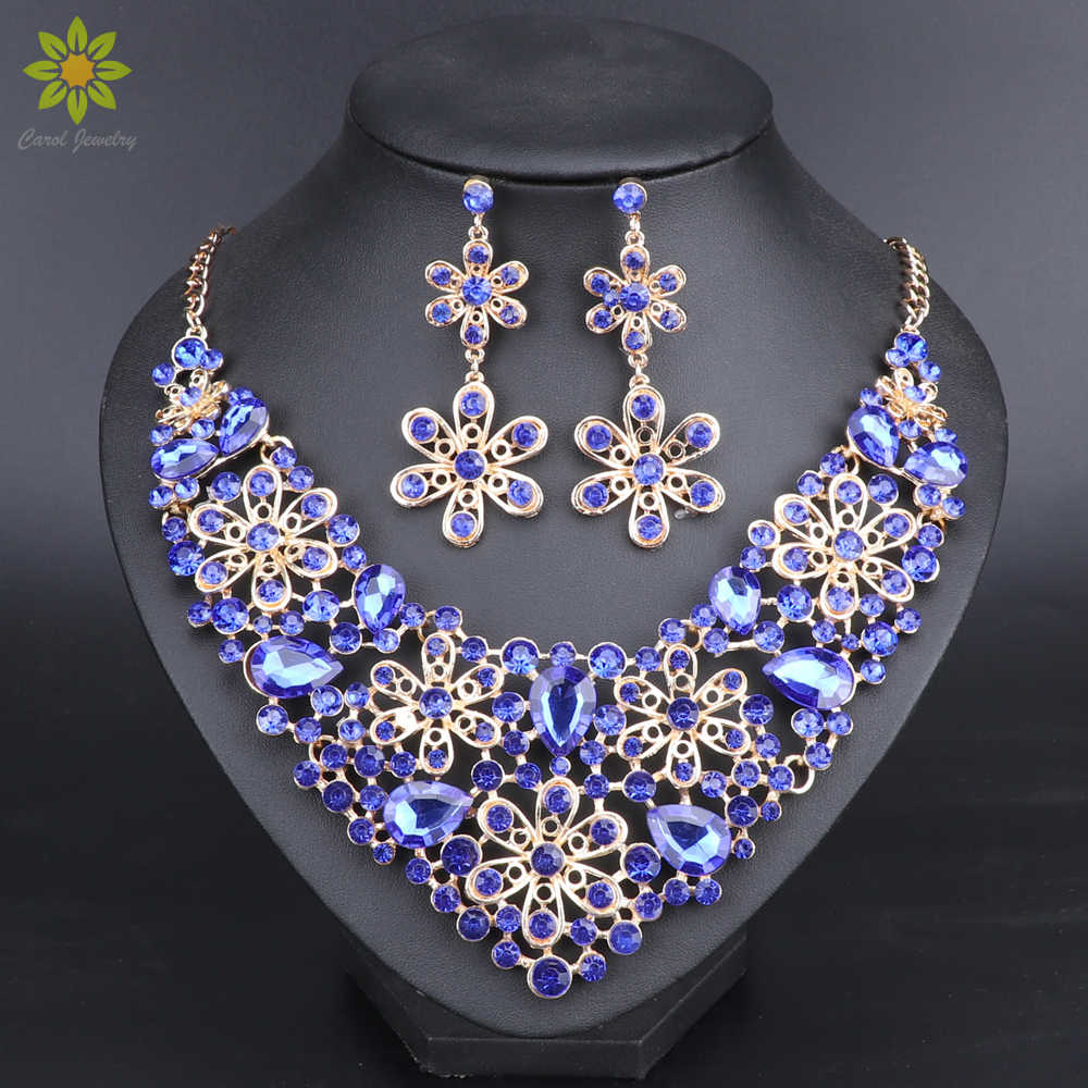 Fashion Blue Crystal Jewelry Sets Bridal Necklace Earrings Sets Wedding Party Jewelry Costume Jewellery Decorations Wholesale
