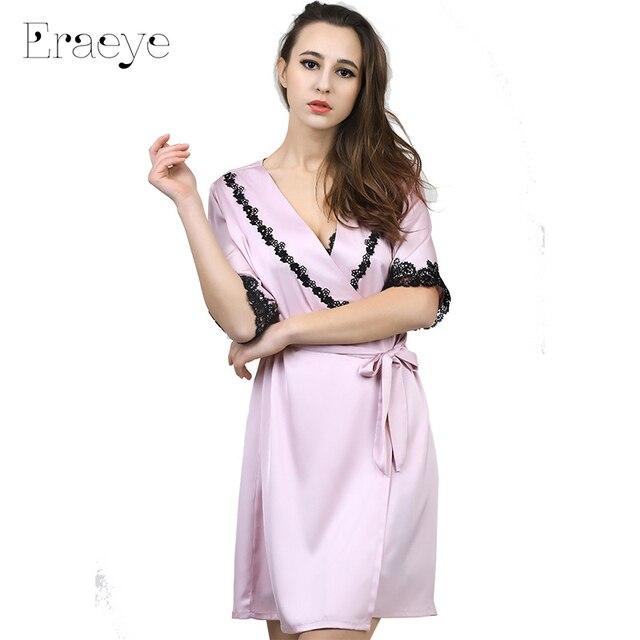 ERAEYE faux Женщин slik атласная 2 кусочек ночной рубашке костюм кружева среднего рукавом розовый невесты горничной халаты халат пижамы ночной рубашке дом пальто