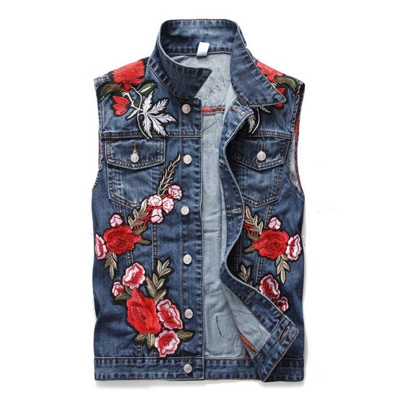 Mcikkny mode hommes Denim gilet avec Rose fleur broderie Patchwork Slim Jeans gilet homme sans manches vestes taille M-XXXL
