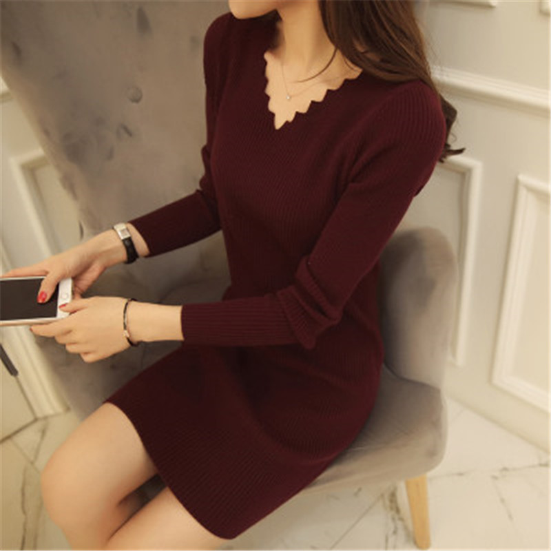 Women Sexy Sweater Dress Autumn Winter Fashion V Neck Bodycon Basic Mini Solid Color Knitted Dress Pullover Maxi Dress ZY2781 2