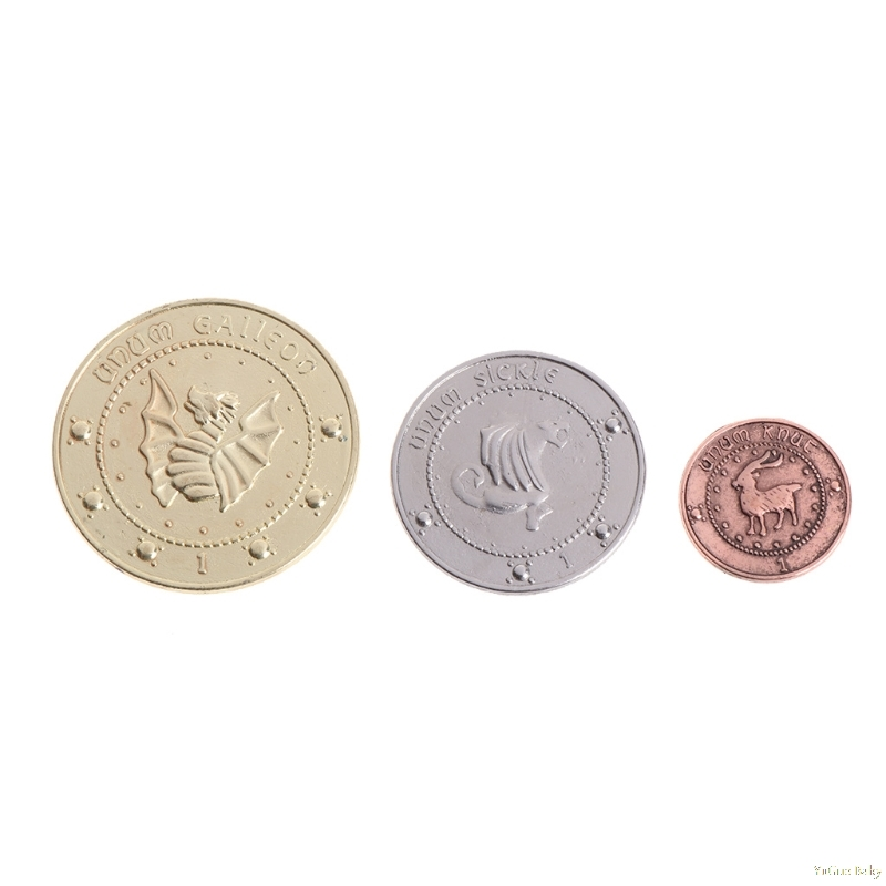 2018 Meaningful 3pcs/set Hogwart Gringotts Bank Coin Wizarding World Galleons Sickles Knutes Noncurrent Coin