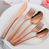 20pcs Royal Rose Gold Cutlery Set Stainless Steel Good Mirror Polishing Metal Dinner Knife Fork Salad Teaspoon Dinnerware Sets