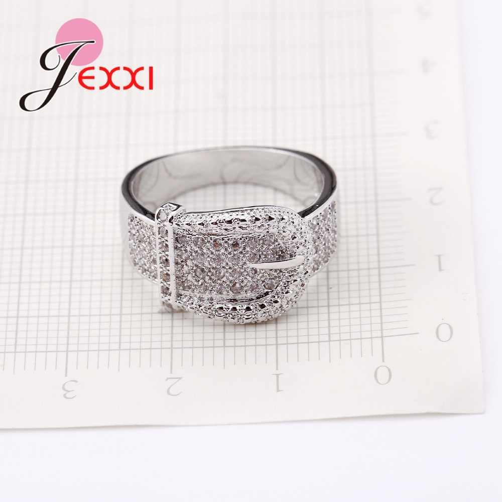 Nuevo Anillo de cinturón brillante para mujer, exquisitos cristales pequeños austriacos, joyas de plata 925 de alta calidad