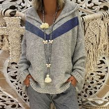 2019 spring and autumn new hooded pullover sweater blue V-neck