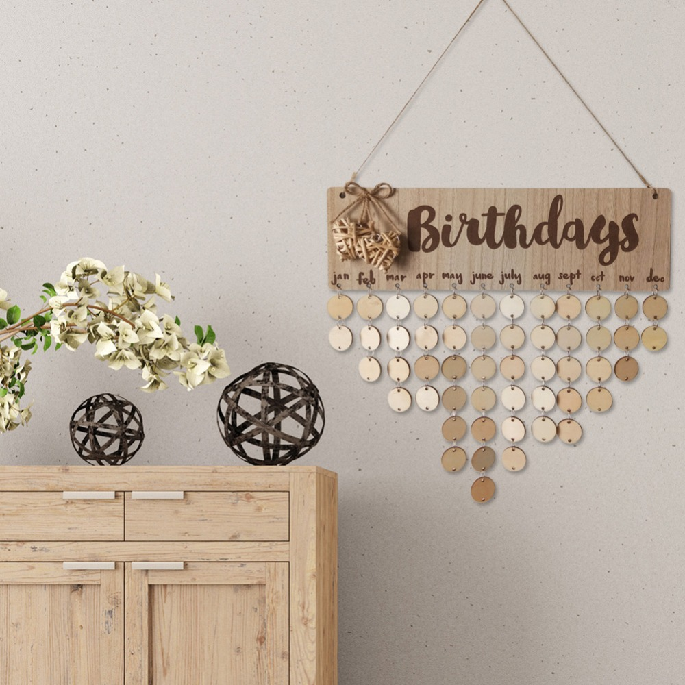 DIY Wooden Round Plate Wall Hang Calendar Sign Birthday Date Reminder Board