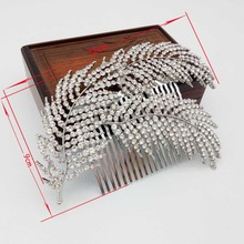 Rose Gold Wedding Hair Combs For Bride Crystal Rhinestones Leaves Women Hairpins Bridal Headpiece Hair Jewelry Accessories