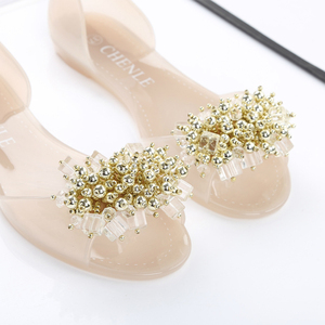 Image 3 - SWYIVY Plastic Jelly Shoes Crystal Flats Shoes 2018 Woman Casual Shoes Summer Beach Sandals Lady Comfortable Shallow Mouth Flats
