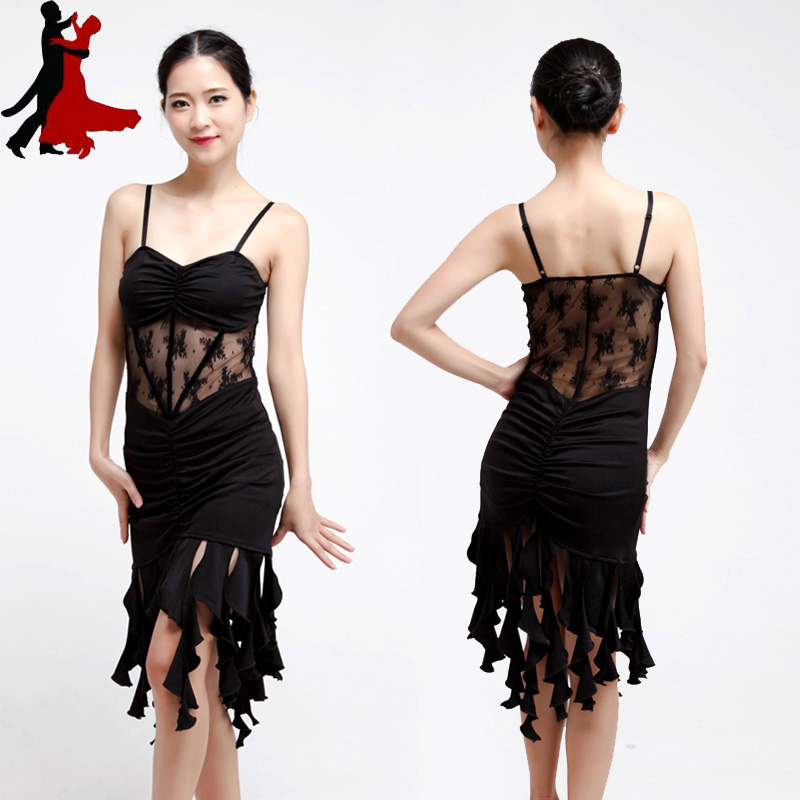 Sexy Sling hollow Latin dance practice dress performance clothing women freeshipping hot sale