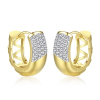 Women Clip on Earrings Cubic Zirconia Shiny Jewelry Gold Color Earrings Accessory for Banquet Party Vintage Gift for Grandmother