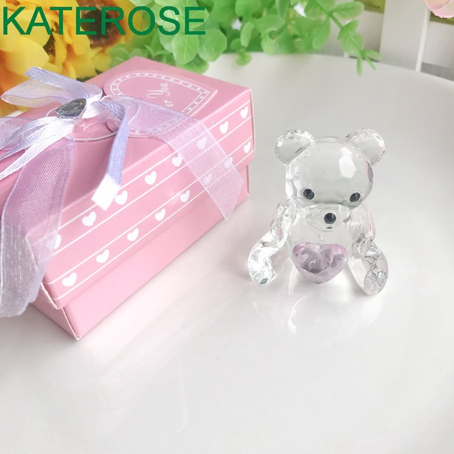 Baby Christening Favors And Gift Choice Crystal Collection Teddy Bear Figurines Pink For