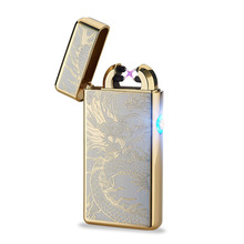 Free Shipping Novelty No Gas Smokeless Personalized Cross Pulse Slim Rechargeable Double Arc Lighter usb cigarette lighter