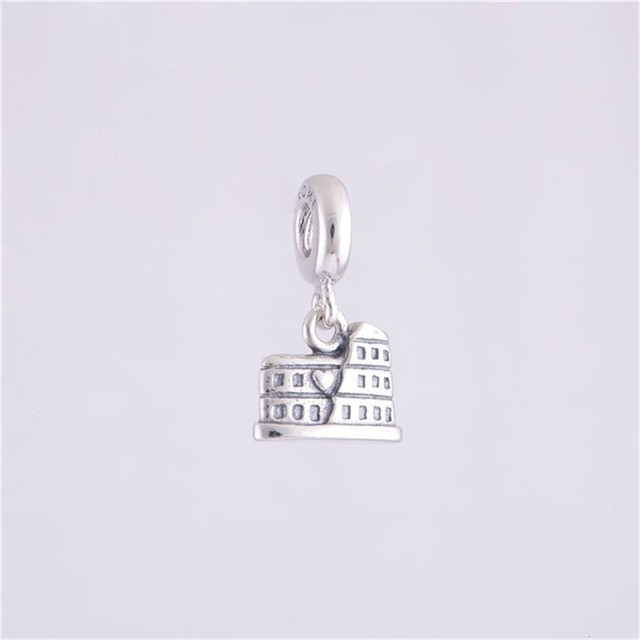 100% 925 jóias de prata esterlina roma coliseu flutuante charme beads para mulheres diy fazendo fits pandora charms bracelet lw132