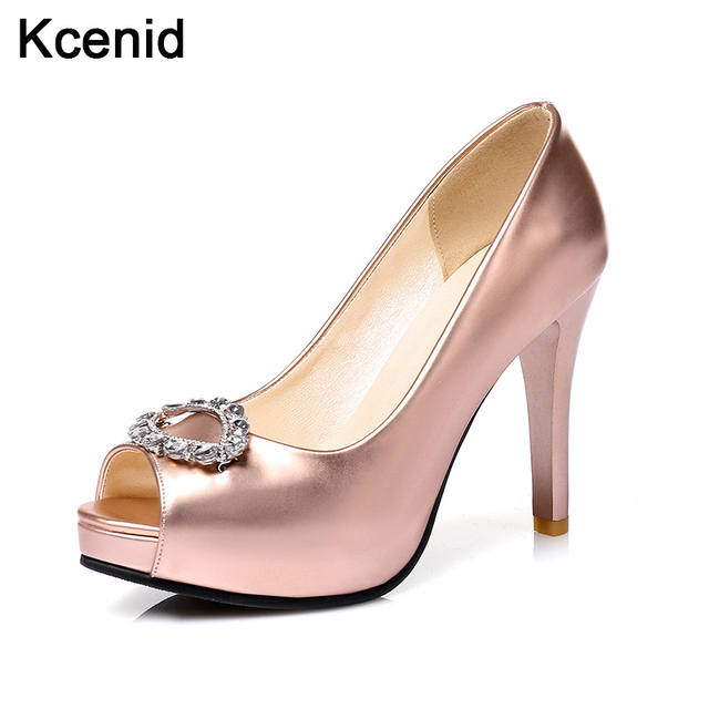 a78008e5dc648a Kcenid Shoes women 2017 high heels fashion platform pumps peep toe  rhinestone crystal buckle party shoes rose gold plus size 43