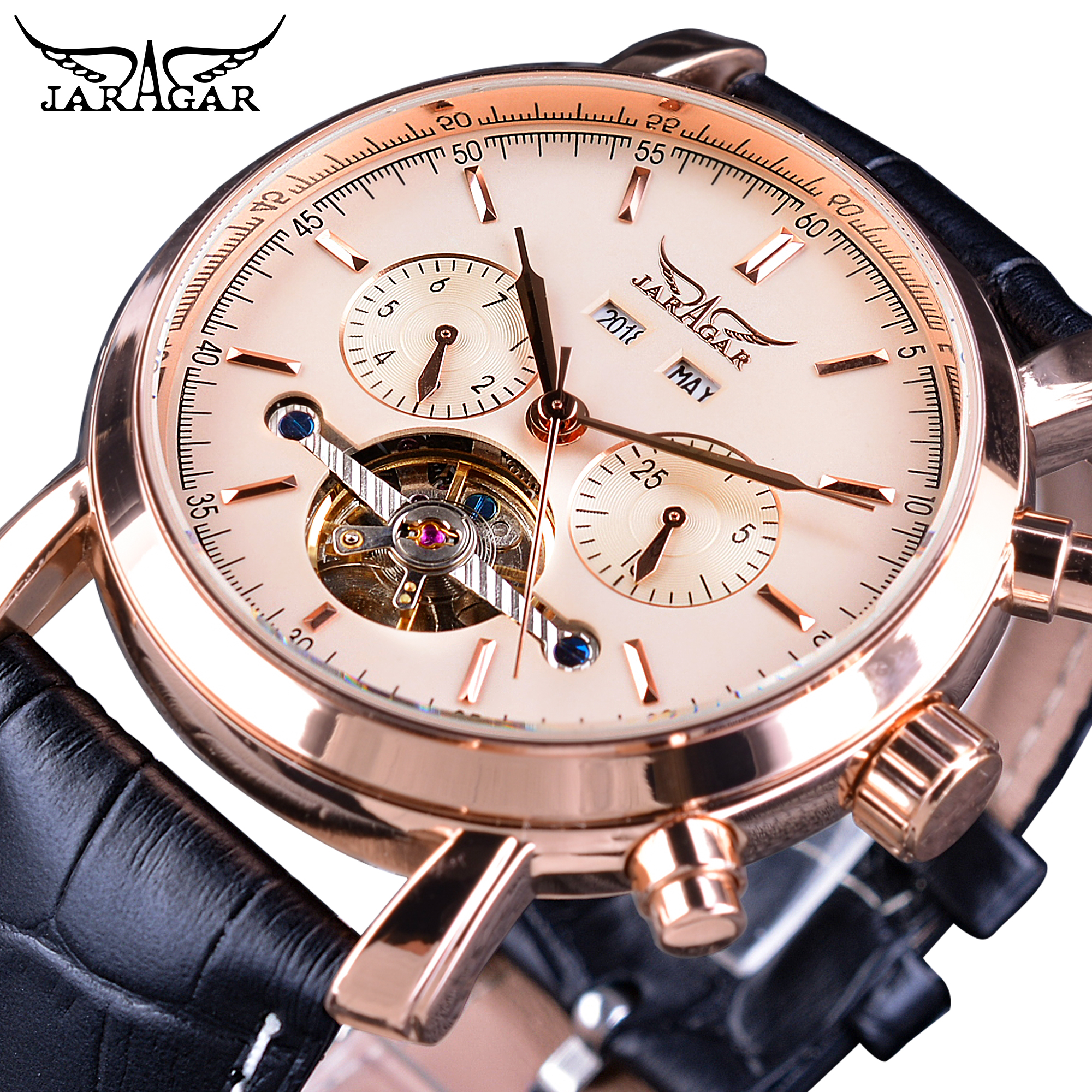 Jaragar Rose Golden Tourbillon Business Men Watches Automatic Self-Wind Date Year Genuine Leather Strap Mechanical Reloj Hombre