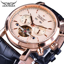 купить Jaragar Rose Golden Tourbillon Business Men Watches Automatic Self-Wind Date Year Genuine Leather Strap Mechanical Reloj Hombre по цене 2158.45 рублей
