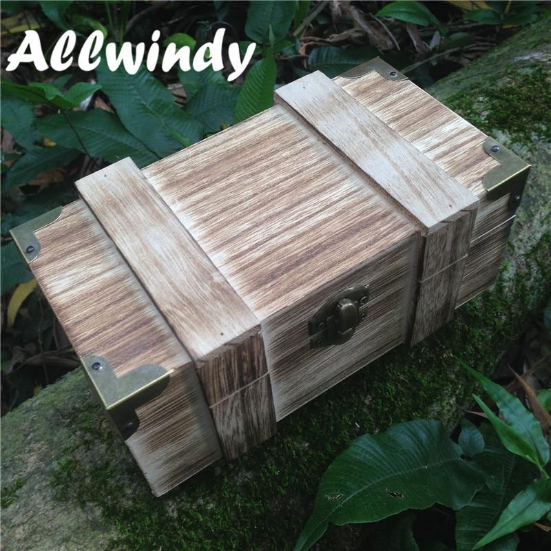 New Zakka Treasure Shape Wooden Money Storage Box Solid Wood Gift Box Makeup Table Desktop Collection Box 18**10*8cm 1Pcs