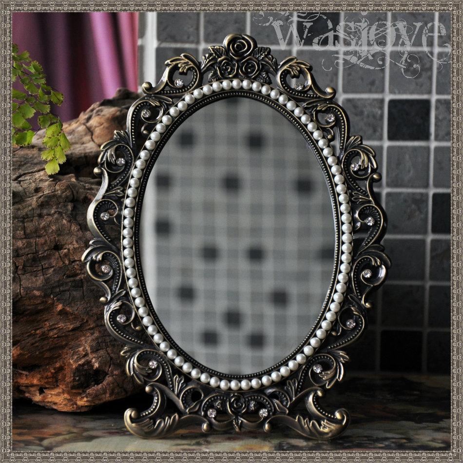 Oval pearl alloy metal table makeup mirror dresser desktop cosmetic mirror home Decoration Desktop decoration photo frame HZJ007