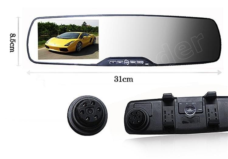 2,7 pulgadas HD espejo de revisión de coche grabadora de vídeo Digital 120 grados gran angular visión nocturna detección de movimiento coche DVR - 4