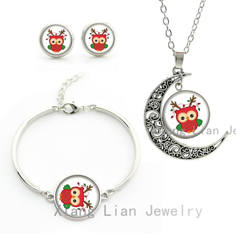 New arrival Christmas colorful lights cute Baby Owl women jewelry sets lovely birds animals necklace earrings bracelet gift CM97