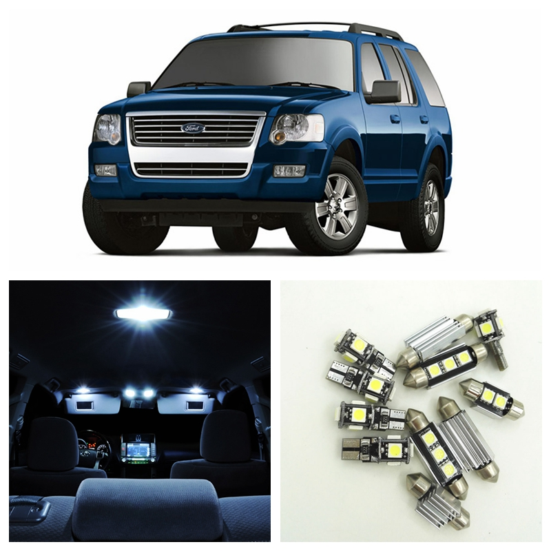 10Pcs White Bulbs LED Light Interior Package Kit For Ford Explorer 2006 2007 2008 2009 2010 Dome License Plate light Ford-B-12 shanghai chun shu chunz chun leveled kp1000a 1600v convex plate scr thyristors package mail