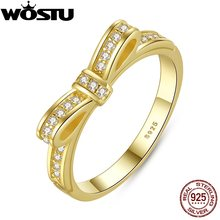 New Arrival Real 925 Sterling Silver Sparkling Bow Engagement Ring Gold Color For Women Original Fine Jewelry Free Shipping(China)