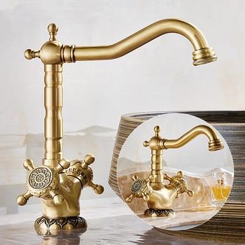 Basin Faucet Antique Bronze Carved Dual Handle Faucet Hot & Cold Sink Faucet Mixer Kitchen Tap Bathroom Faucet Lavatory Mixer