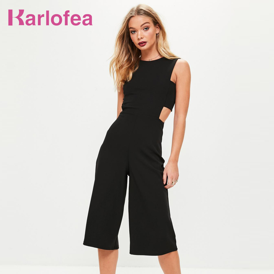 Karlofea Summer Round Neckline Women Jumpsuits New Fashion Casual Rompers Black Side Tab Culotte Knee-Length Wide Leg Jumpsuit ...