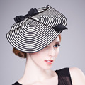 Elegant Women Formal Hat Fascinator For Weddings Evening hat With White Black Striped Bow Bridal Hats  Female Headwear B-1942