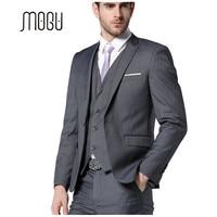 MOGU 2017 Latest Coat Pant Designs Suit Men Dark Gray Suits For Men One Button Closure Slim Fit Suits Three Piece Suit Jacket