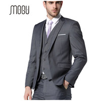 Mogu 2017 последние конструкции пальто брюки костюм Для мужчин темно-серый Костюмы для Для мужчин одна кнопка Синтетическое закрытие волос Slim ...