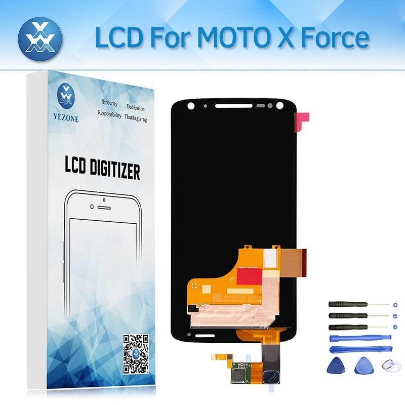 AMOLED Pour Motorola Moto X Force XT1580 Lcd Affichage Avec Cadre Tactile Assemblée D'écran Digitizer 5.4 Lcd Téléphone Pièces remplacement