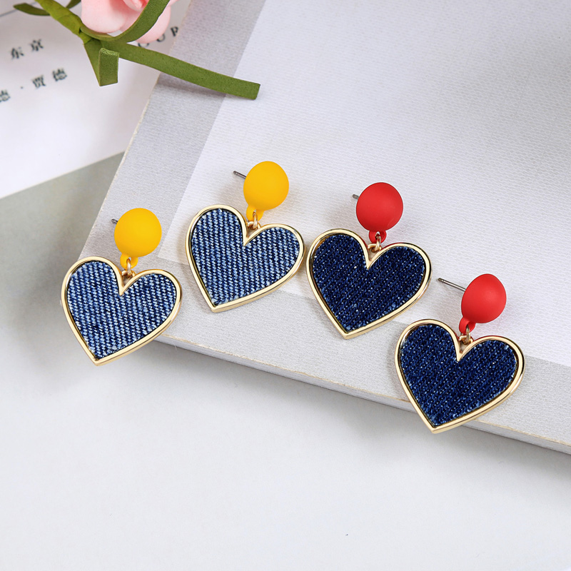Retro fashion Heart stud earrings female contracted cloth small student stud earrings accessories earrings for women